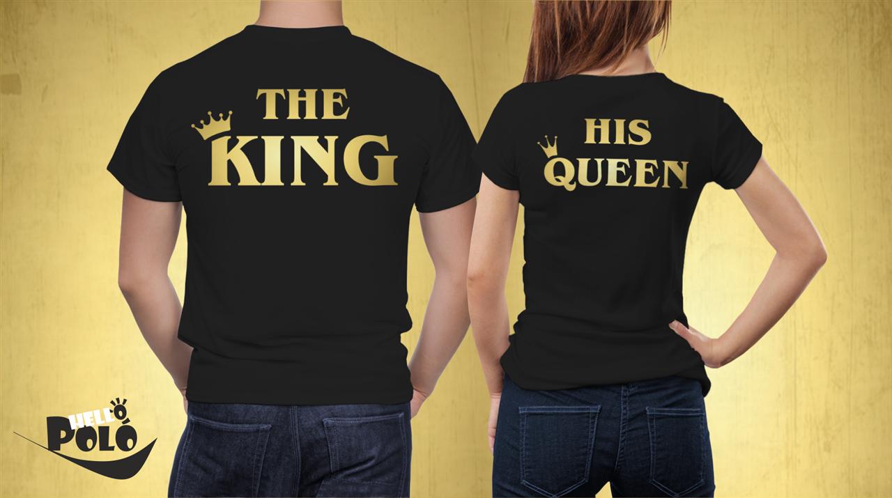 Helló póló. The king his queen páros póló arany fdec67717c