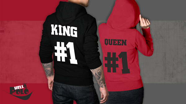 Picture of The king his queen 1# piros-fekete pulóver